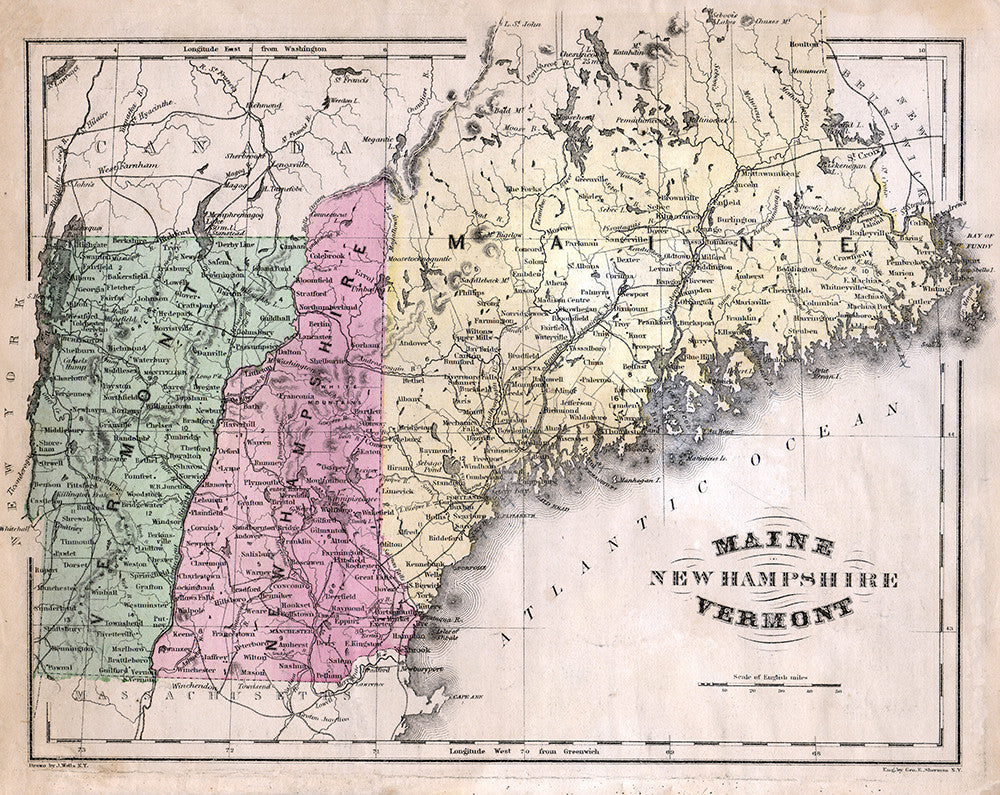 graphic relating to Printable Map of Maine titled Map of Maine, Fresh new Hampshire, and Vermont