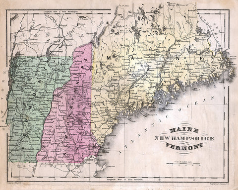 Map of Maine, New Hampshire, and Vermont - Print - Stomping Grounds