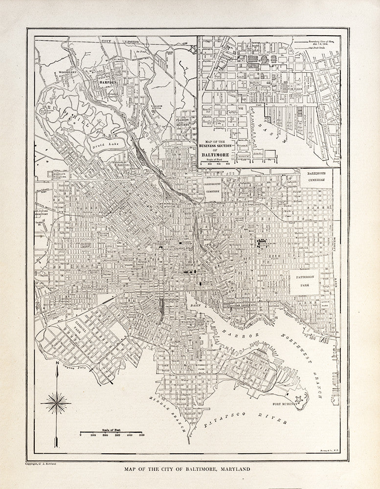 Map of The City of Baltimore, Maryland - Print - Stomping Grounds