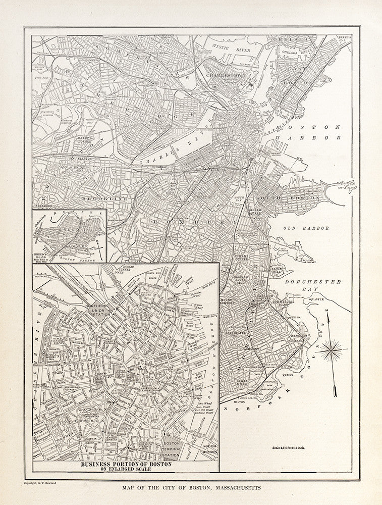 Map of The City of Boston, Massachusetts - Print - Stomping Grounds