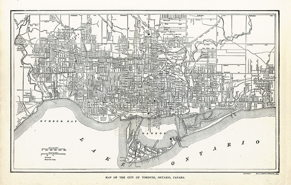 Map of The City of Toronto, Ontario, Canada