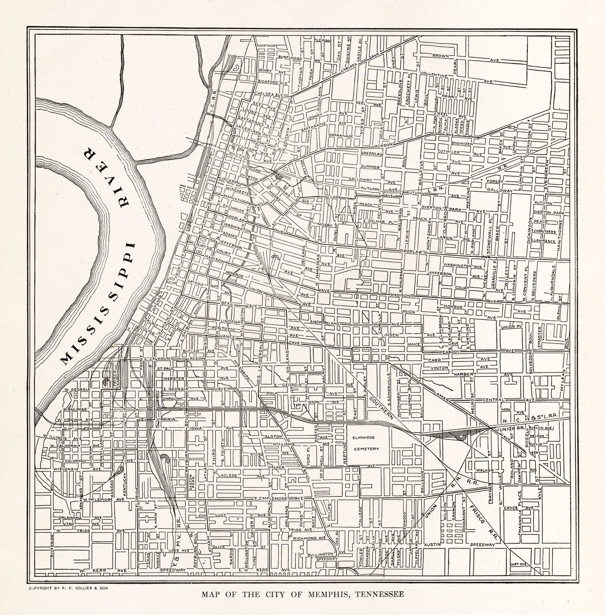 Map of The City of Memphis, Tennessee