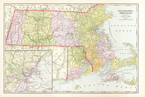 Massachusetts and Rhode Island - Cram's Atlas 1901 - Print - Stomping Grounds
