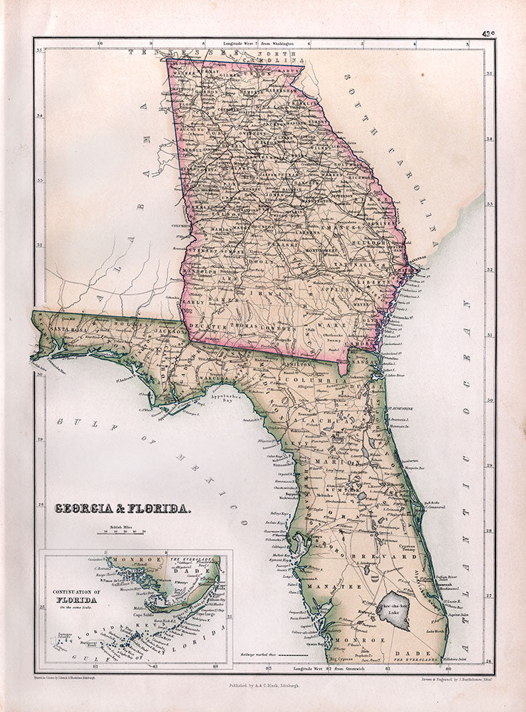 Georgia & Florida - Black's Atlas 1867 - Print - Stomping Grounds