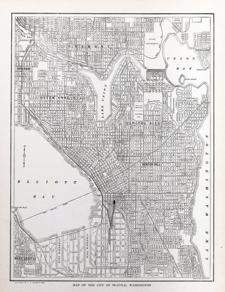 Map of The City of Seattle, Washington - Print - Stomping Grounds