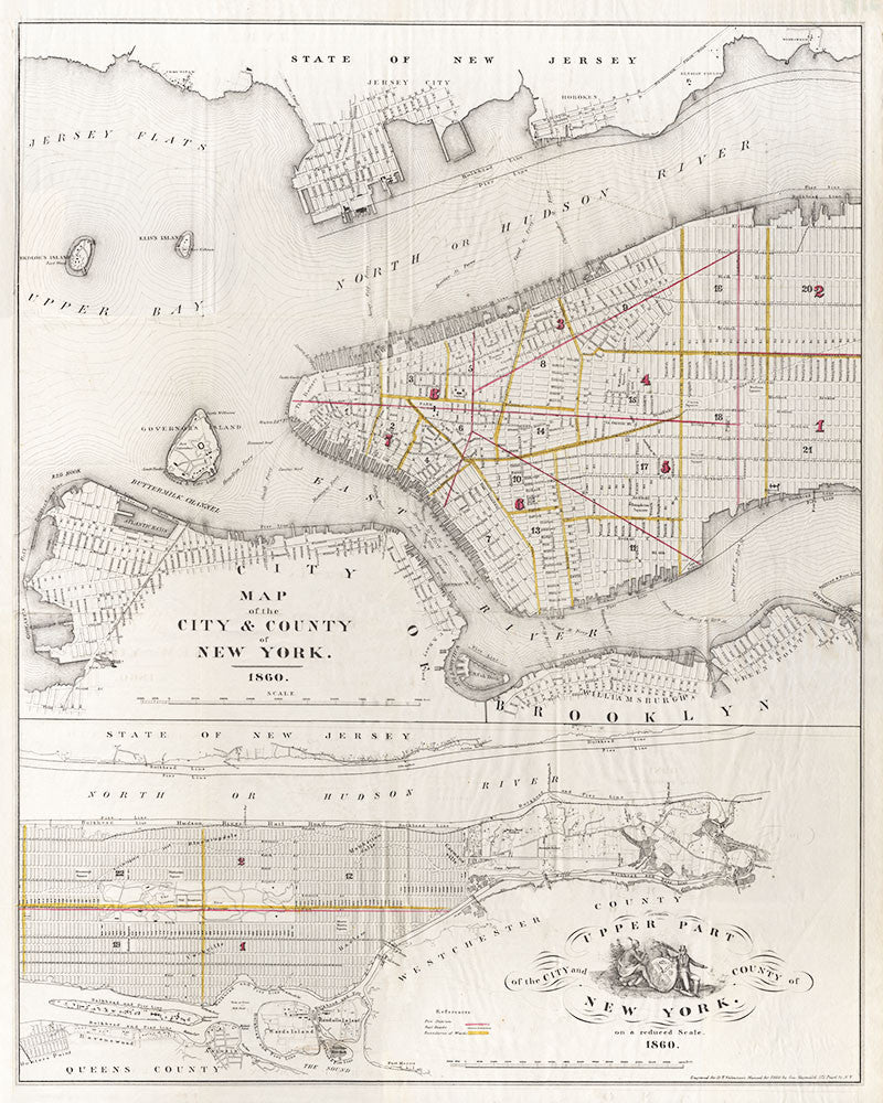 New York City and County - Map with Fire Districts - 1860
