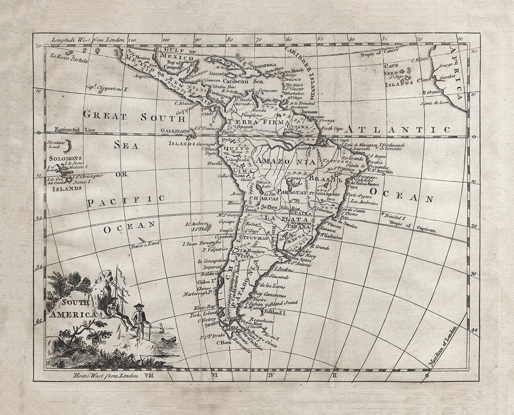 1764 Map of South America - Print - Stomping Grounds