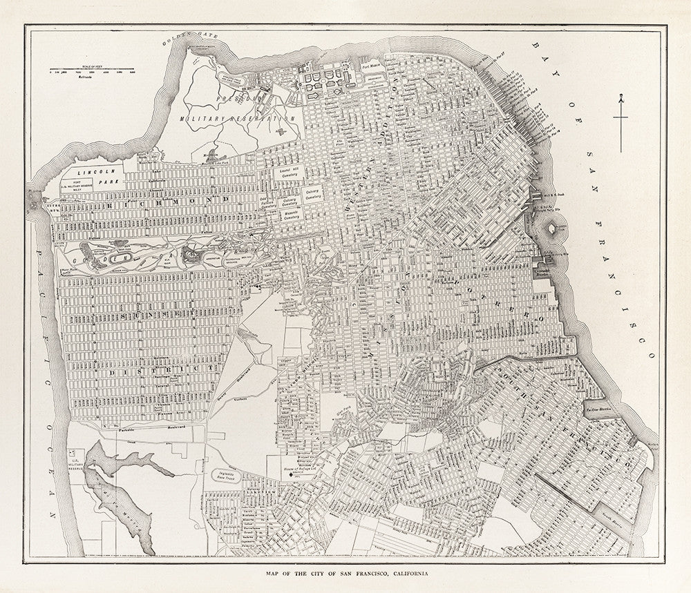 Map of the city of San Francisco, California - 1923 - Print - Stomping Grounds