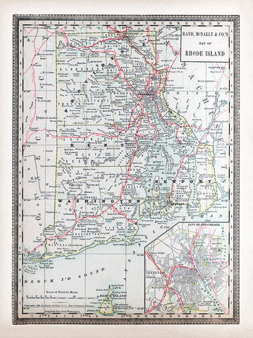 1901 Map of Rhode Island from Cram's Modern Atlas - Print - Stomping Grounds