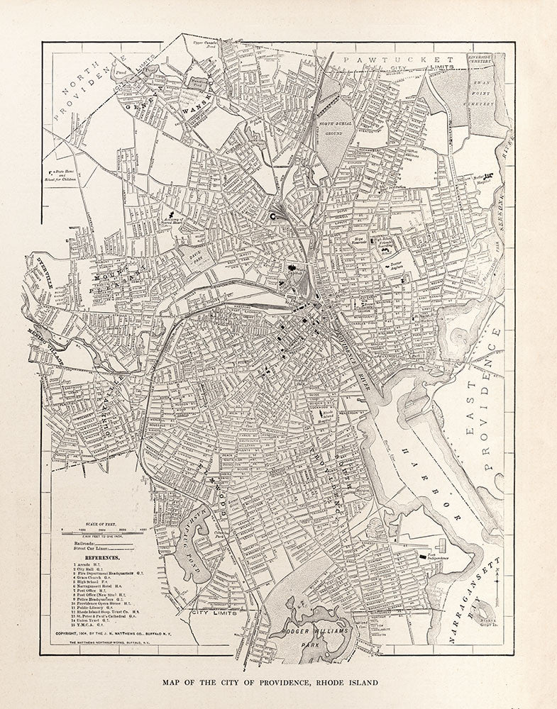 Map of the City of Providence, Rhode Island - Print - Stomping Grounds