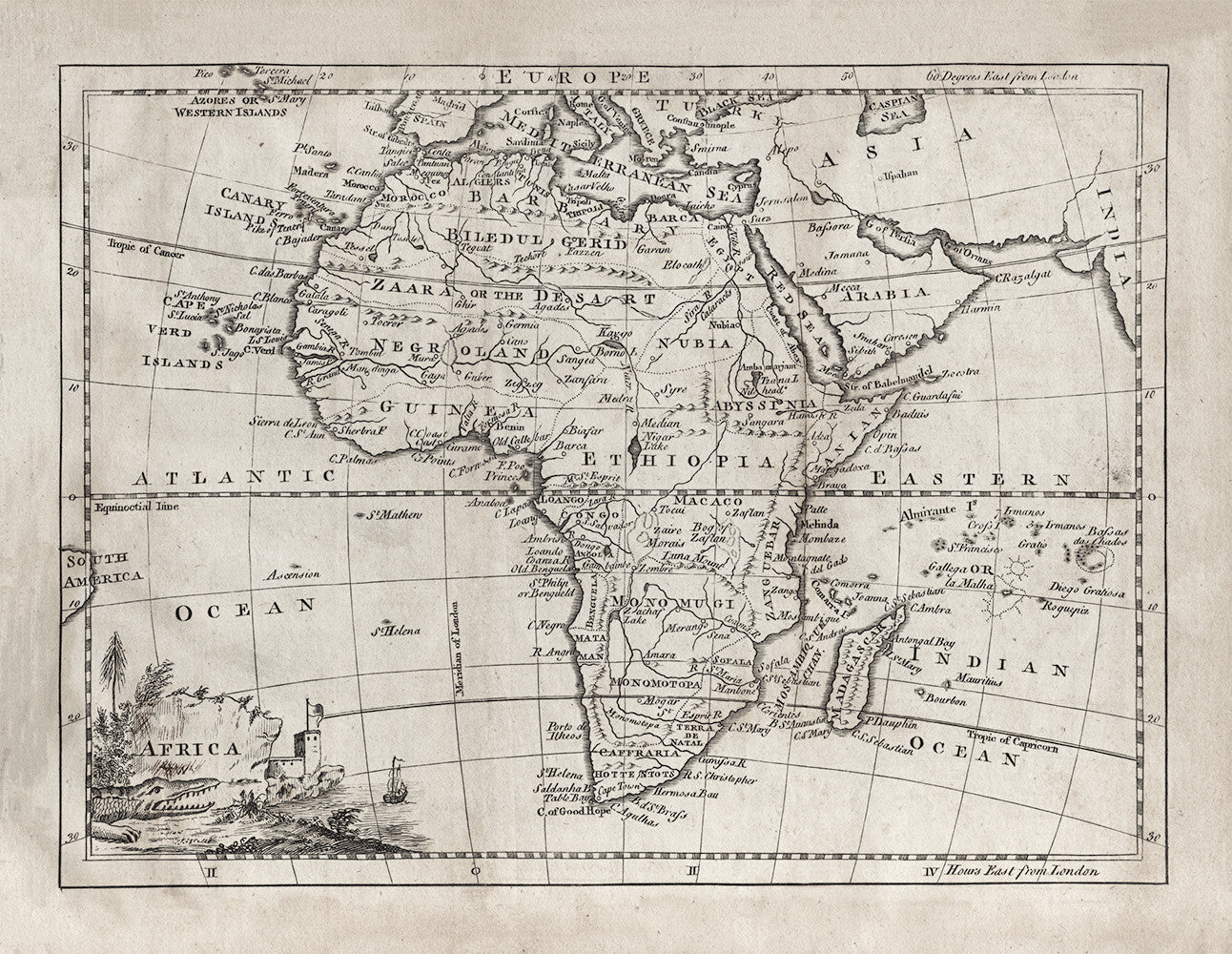 1764 Africa Map - Print - Stomping Grounds