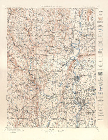 Topographic Sheet - Holyoke Quadrangle - 1884