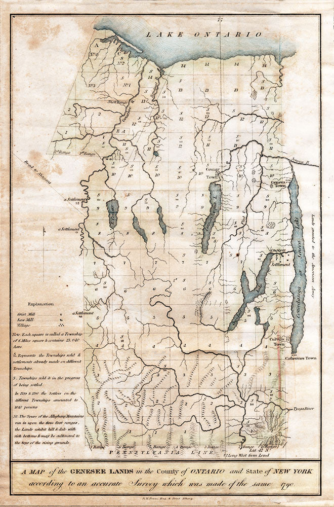 Map of the Genesee Lands in the County of Ontario - 1790 - Print - Stomping Grounds