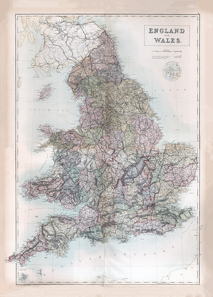 England and Wales Map - 1867 - Print - Stomping Grounds