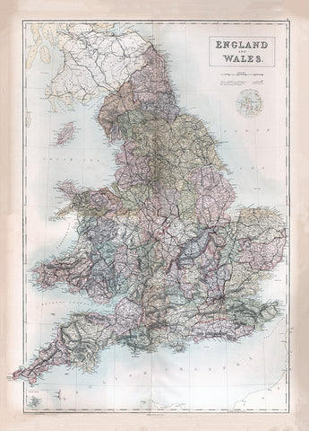 England and Wales Map - 1867