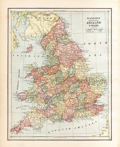 Watson's Atlas Map of England & Wales Map