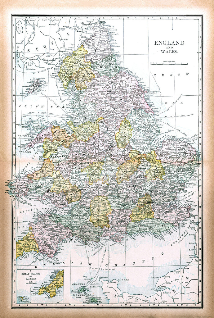 England and Wales from Cram's Modern Atlas - Print - Stomping Grounds