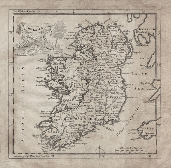 Map Of Ireland Print.1764 Ireland Map Stomping Grounds
