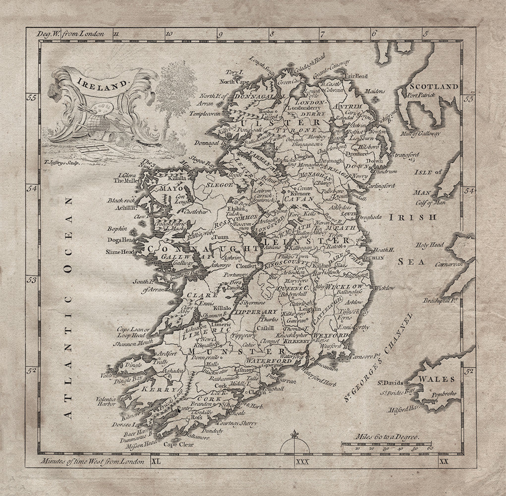 1764 Ireland Map - Print - Stomping Grounds
