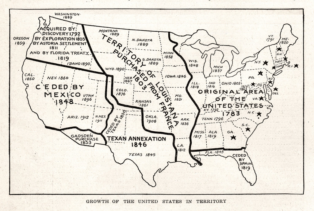 Growth of the United States in Territory - Print - Stomping Grounds
