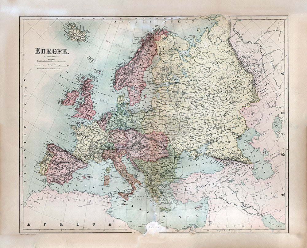 Europe 1867 - Black's Atlas Map - Print - Stomping Grounds