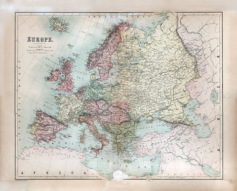 Europe 1867 - Black's Atlas Map