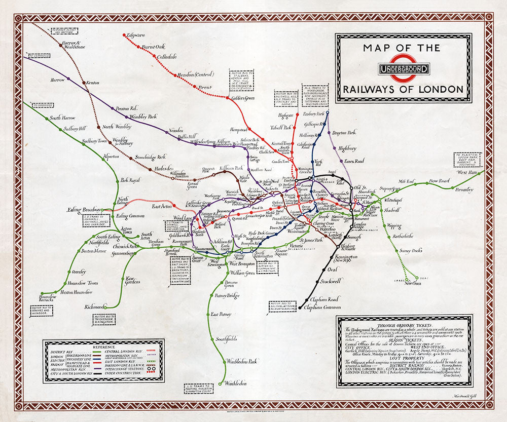 Map of the Underground Railways of London - Print - Stomping Grounds