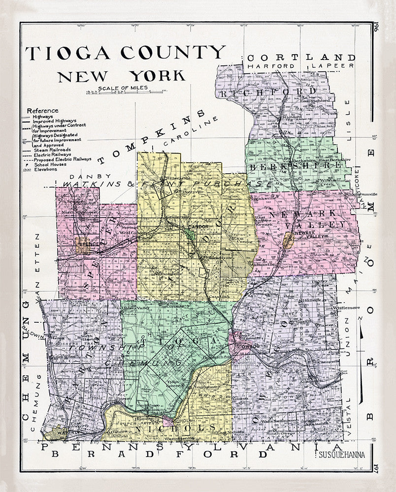 Tioga County, New York Map - Print - Stomping Grounds