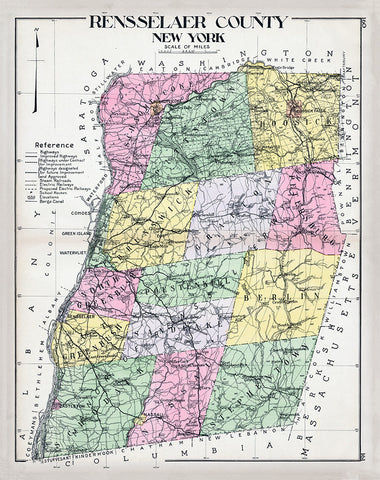 Rensselaer County, New York Map