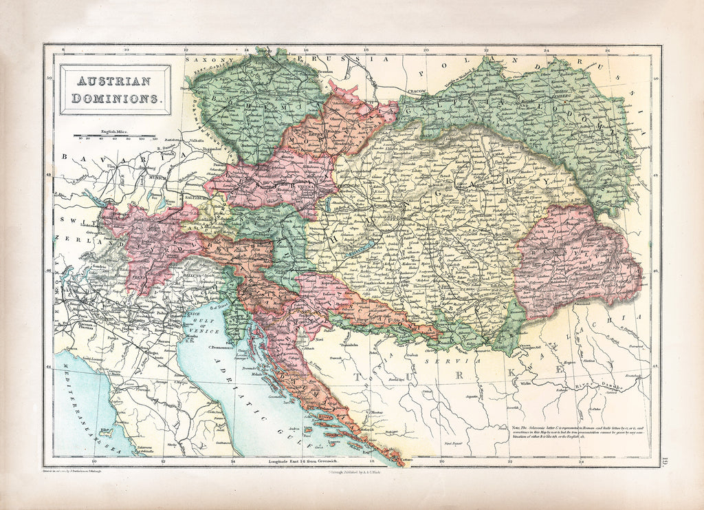 Austrian Dominions Map (1867) - Print - Stomping Grounds