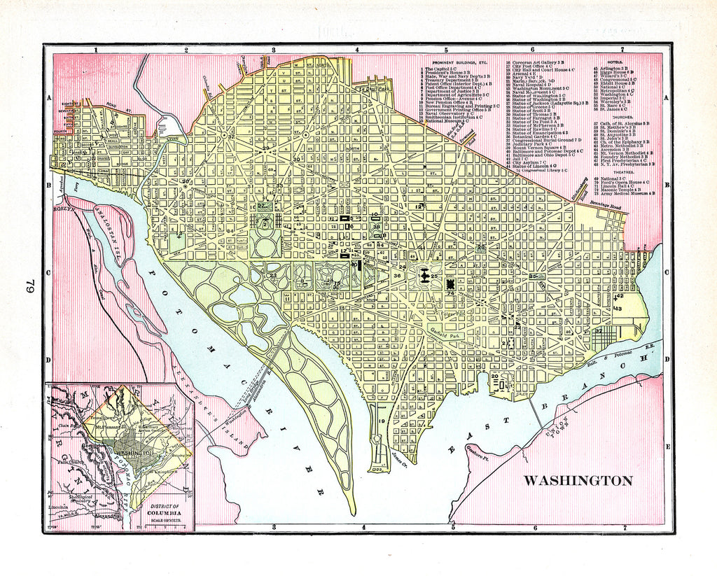 Washington, DC - Cram's Modern Atlas 1901