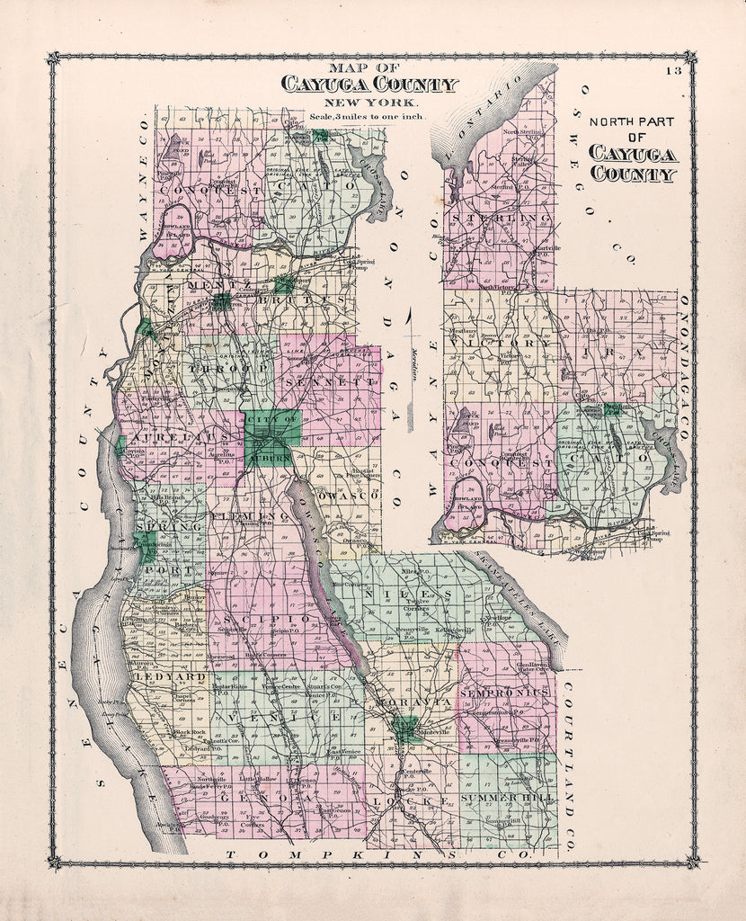 Cayuga County, NY Map - County Atlas of Cayuga 1875 - Print - Stomping Grounds