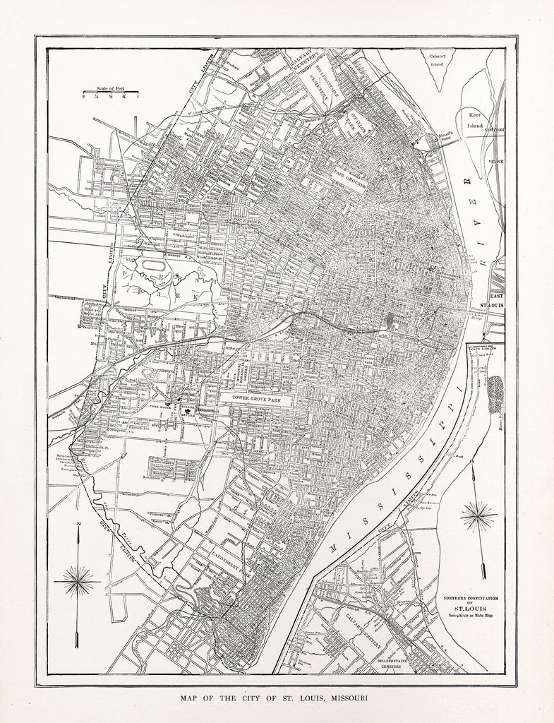 Map of the City of St. Louis, Missouri - Print - Stomping Grounds