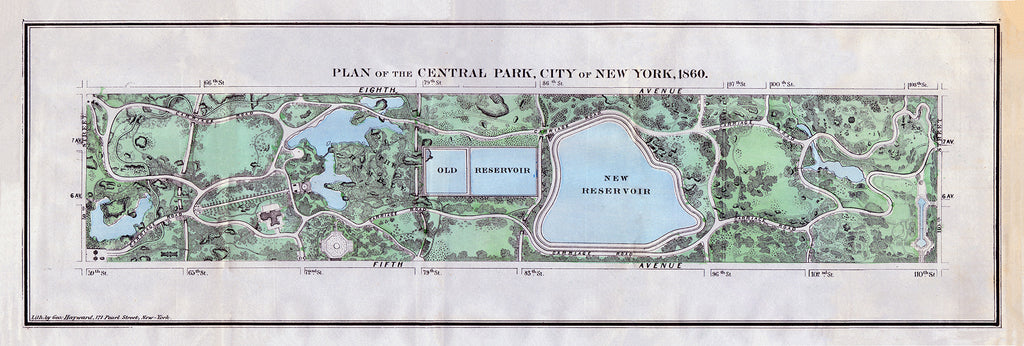 Plan of the Central Park, City of New York, 1860 - Print - Stomping Grounds