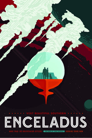 Enceladus – NASA JPL Space Travel Poster - Print - Stomping Grounds