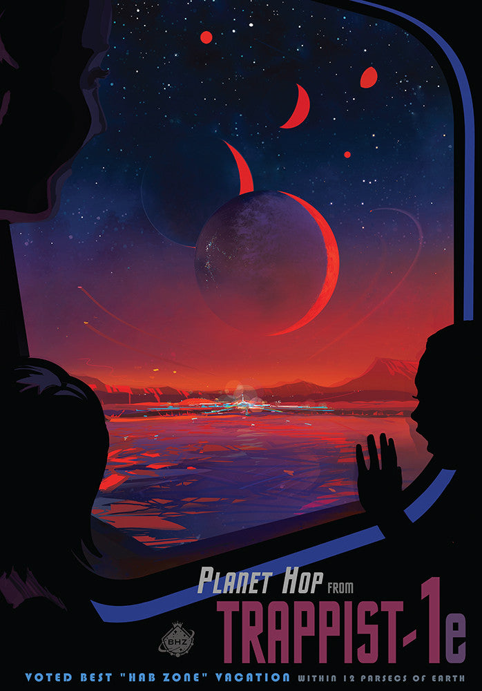 Planet Hop from Trappist-1e – NASA JPL Space Travel Poster - Print - Stomping Grounds