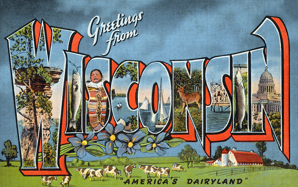 Greetings From Wisconsin, America's Dairyland - Print - Stomping Grounds