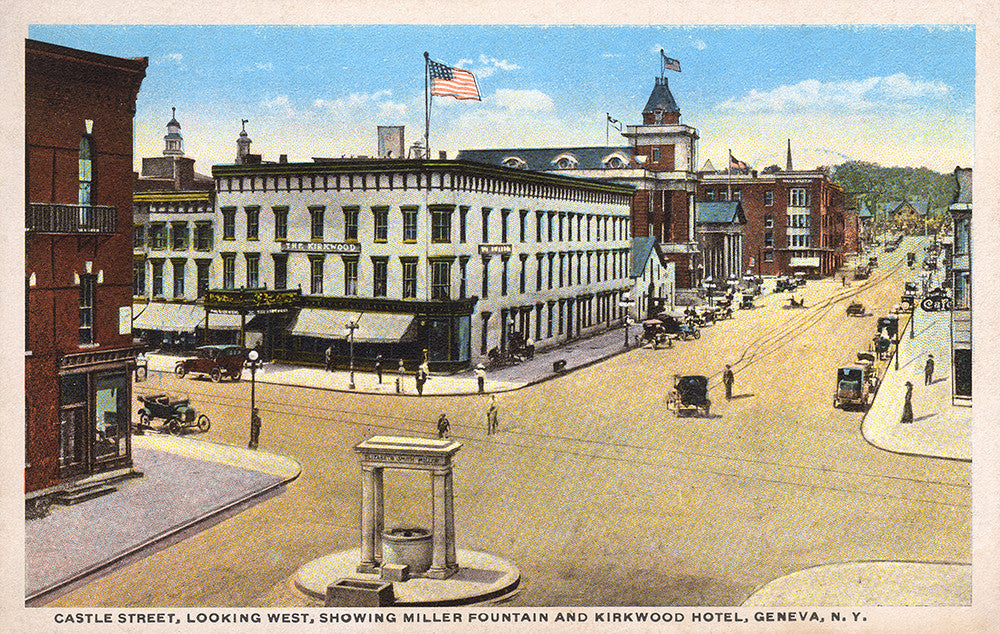 Castle Street, Looking West, Showing Miller Fountain and Kirkwood Hotel Geneva New York - Print - Stomping Grounds