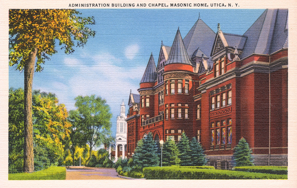 Administration Building and Chapel, Masonic Home, Utica, NY - Print - Stomping Grounds