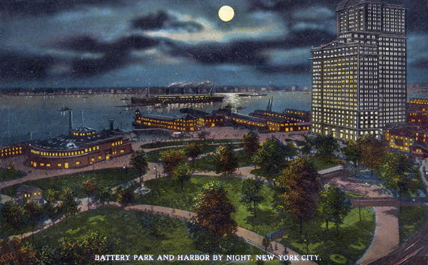 Battery Park and Harbor by Night, New York City - Print - Stomping Grounds