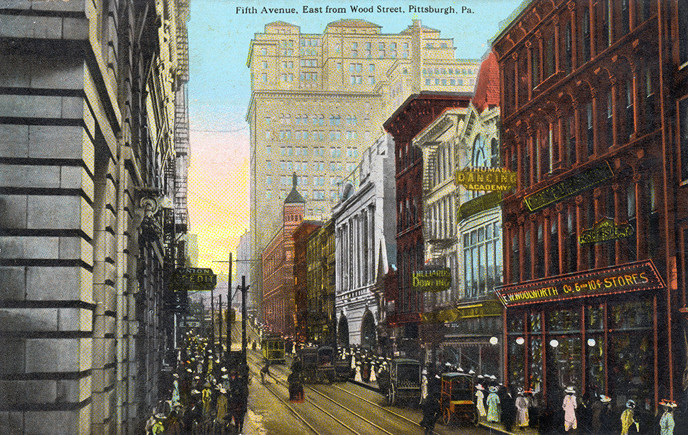 Fifth Avenue, East from Wood Street, Pittsburgh, PA - Print - Stomping Grounds