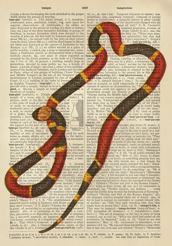 Temptation.  Snake Dictionary Art Giclee Poster Print