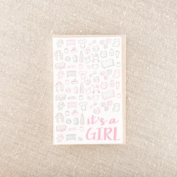 Pike Street Press - It'S A Girl Greeting Card - Notecard - Stomping Grounds