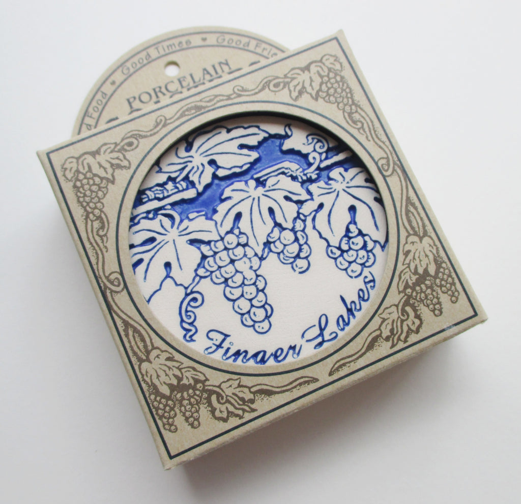 Finger Lakes Porcelain Coasters. Boxed Set of Four.