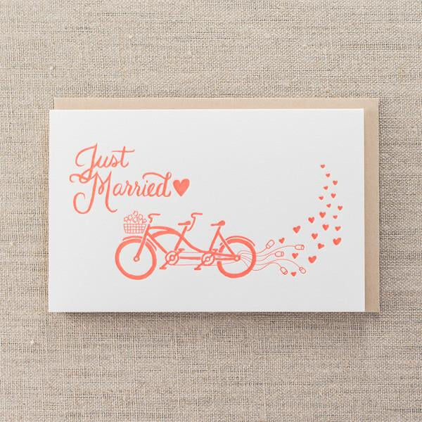 Pike Street Press - Just Married Bikes Greeting Card - Notecard - Stomping Grounds