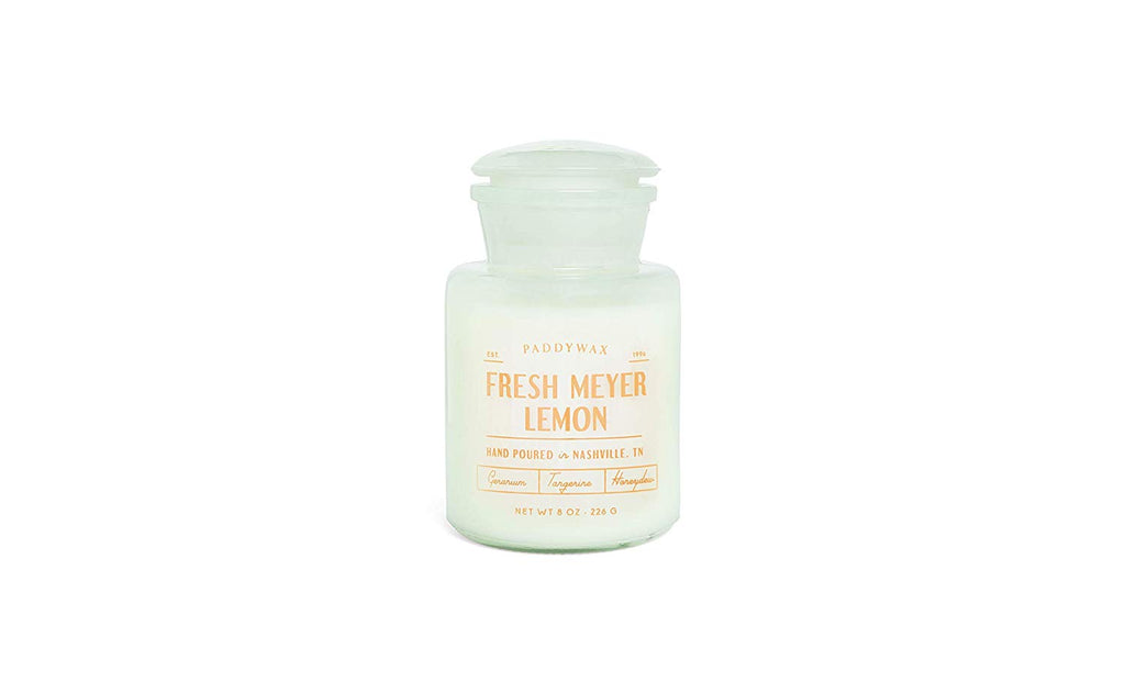 Fresh Meyer Lemon- Farmhouse 8oz. White Apothecary Glass Candle - Gift - Stomping Grounds