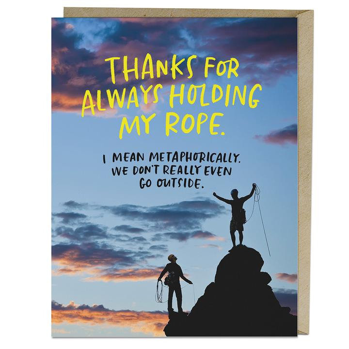 Holding My Rope Reasonable Achievements Card - Notecard - Stomping Grounds
