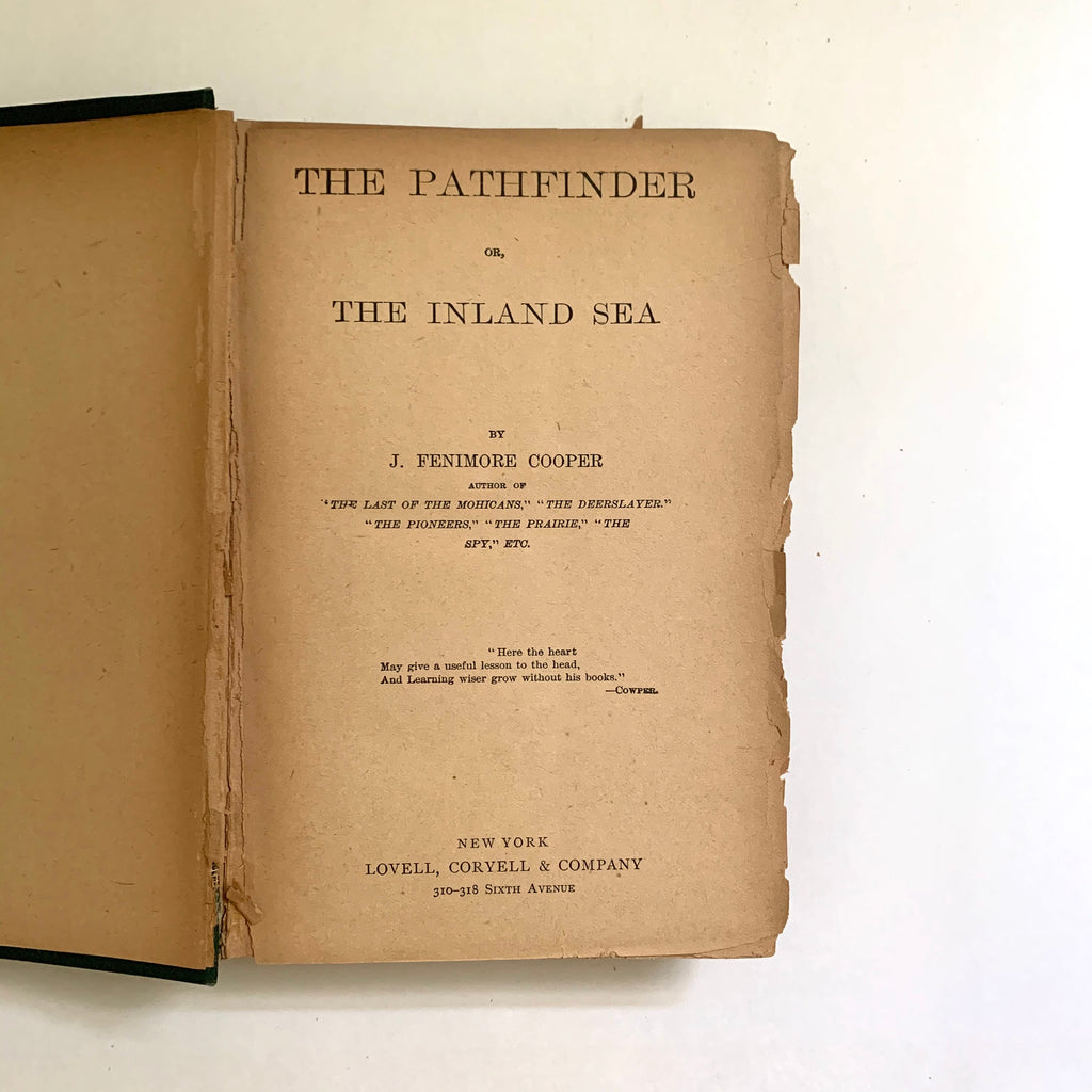 Vintage Book- The Pathfinder or The Inland Sea by J. Fenimore Cooper