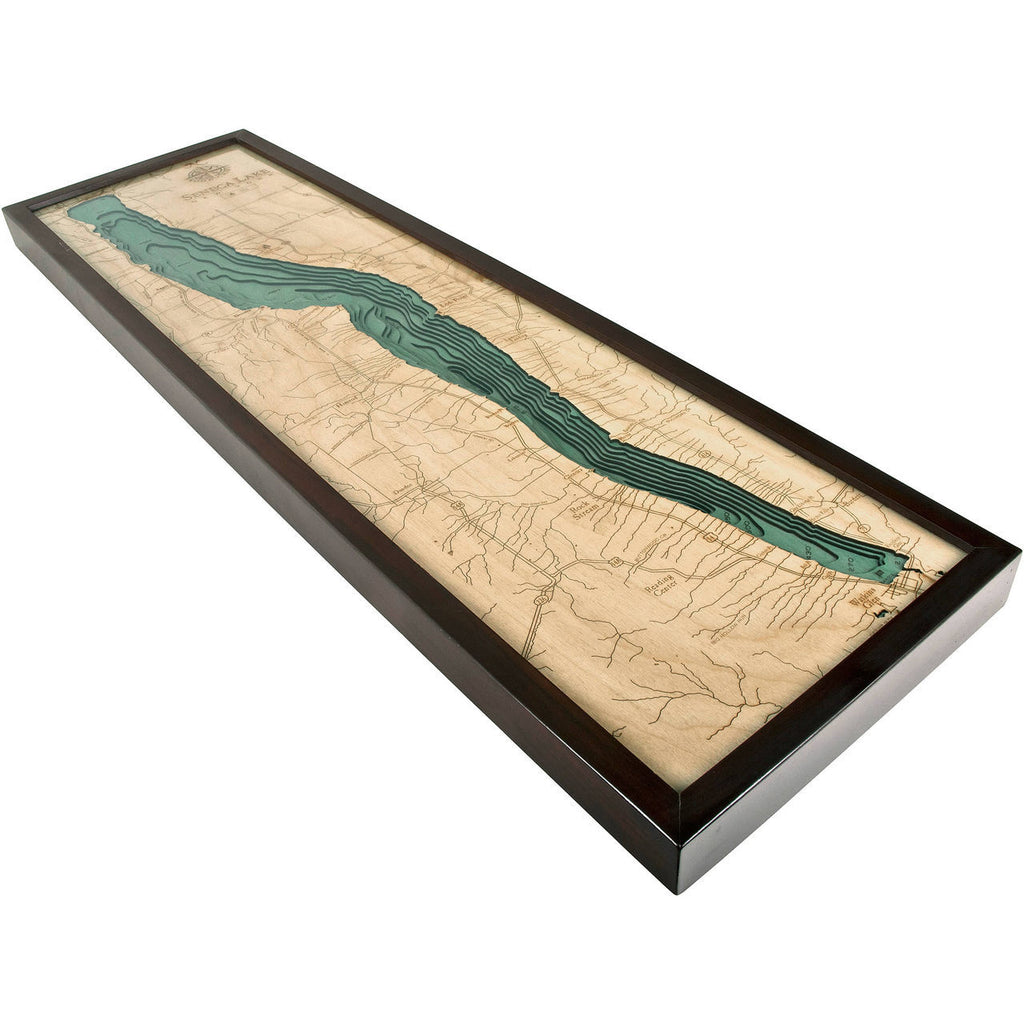 Seneca Lake, New York 3-D Nautical Wood Chart, 13.5 x 43""