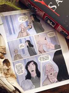 This comic strip features a scene from Wicked Saints. Illustrated by Angela Animates